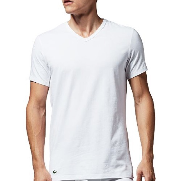 White Lacoste Slim Fit Underwear V-Neck